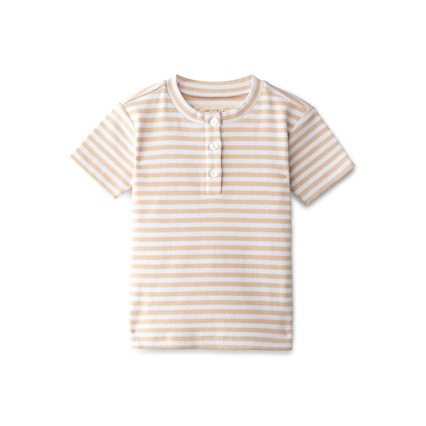 Ribbed boys t-shirt in sand striped 1