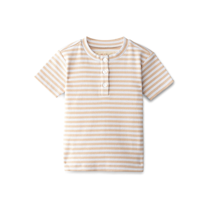 Ribbed boys t-shirt in sand striped