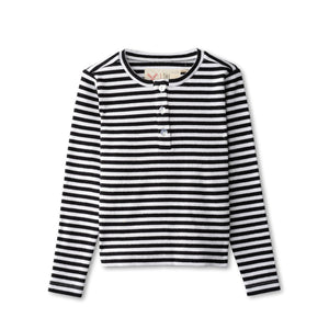 Ribbed t-shirt in black striped
