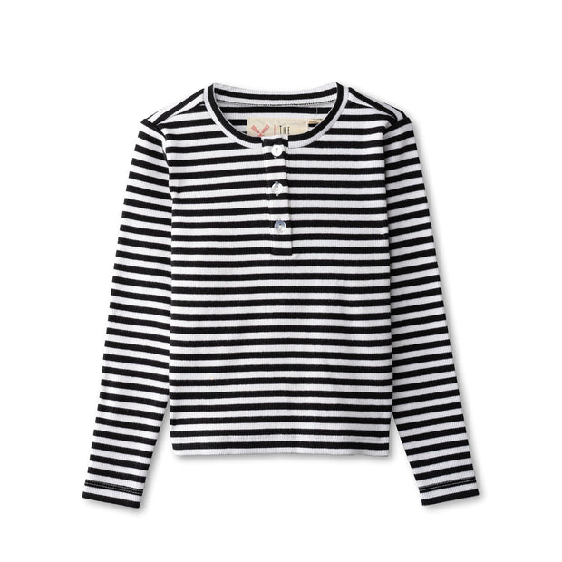 Ribbed t-shirt in black striped 1