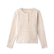 Ribbed t-shirt in sand striped 1