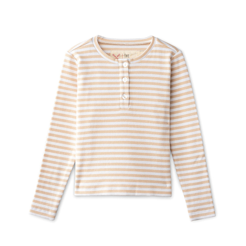 Ribbed t-shirt in sand striped