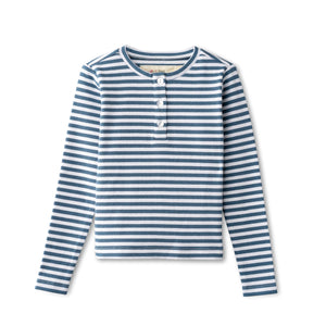 Ribbed t-shirt in chambray striped