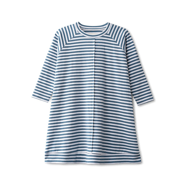 Ribbed dress in chambray striped 1