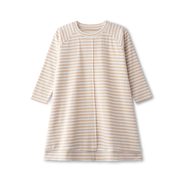 Ribbed dress in sand striped 1
