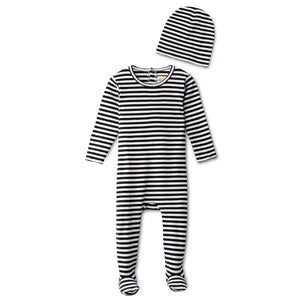 Ribbed footie and beanie in black striped