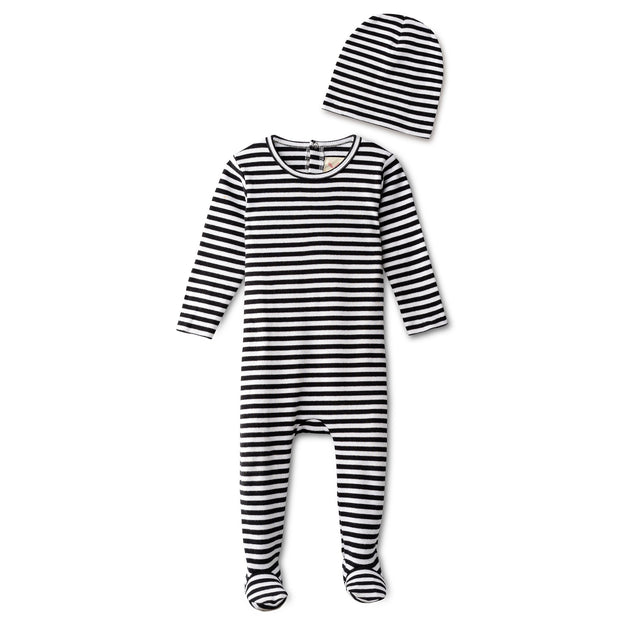 Ribbed footie and beanie in black striped 1
