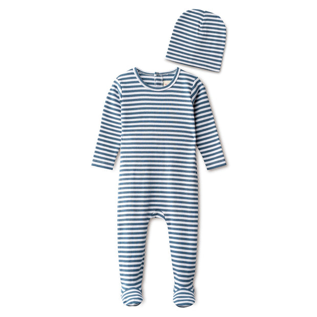 Ribbed footie and beanie in chambray striped 1
