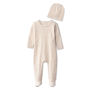 Ribbed footie and beanie in sand striped