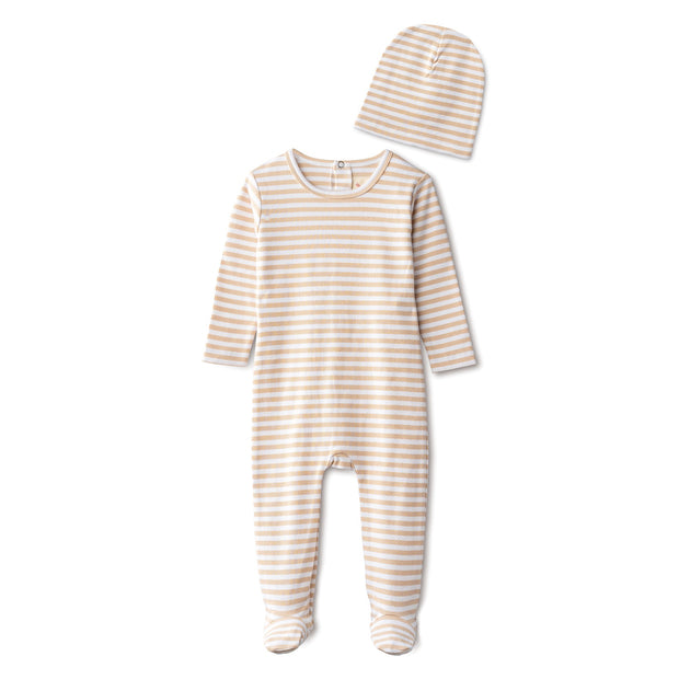 Ribbed footie and beanie in sand striped 1