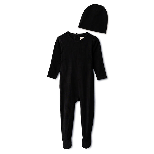 Snug fitting  ribbed footie and beanie in black 1