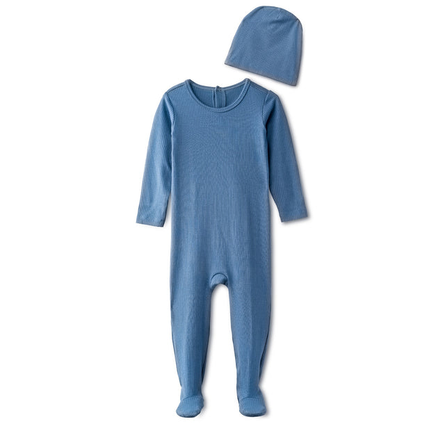Snug fitting  ribbed footie and beanie in dusty blue 1