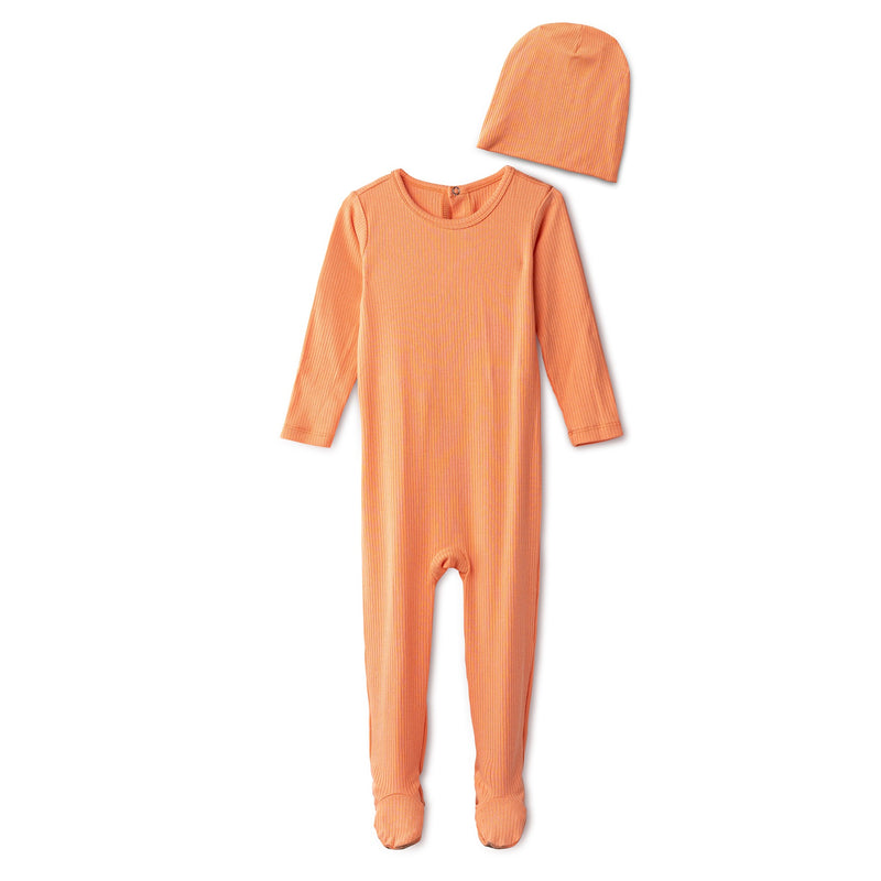 Snug fitting  ribbed footie and beanie in coral
