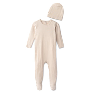 Snug fitting  ribbed footie and beanie in sand