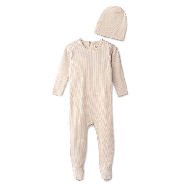 Snug fitting  ribbed footie and beanie in sand 1