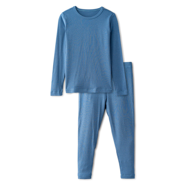 Snug fitting ribbed pajamas in dusty blue 1