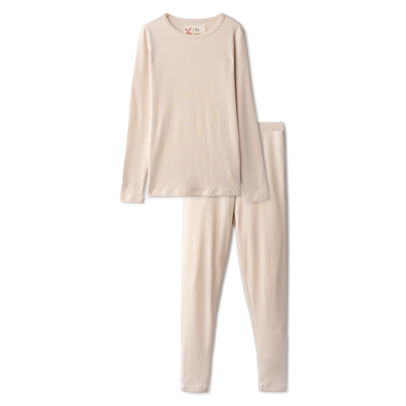 Snug fitting ribbed pajamas in sand