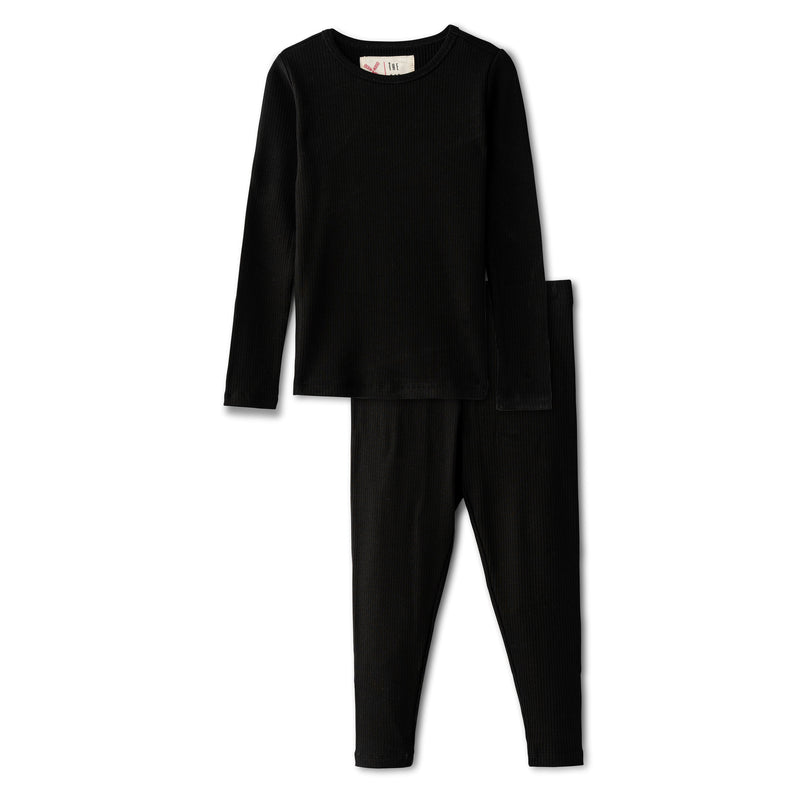 Snug fitting ribbed pajamas in black