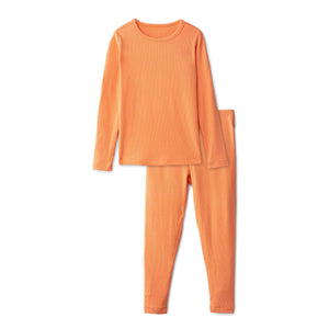 Snug fitting ribbed pajamas in coral