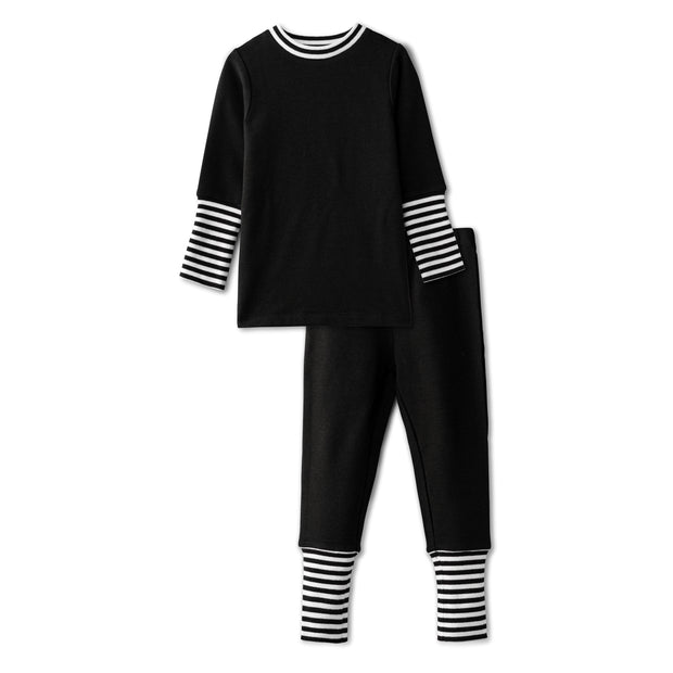 Snug fitting pjs with ribbed accent in black 1