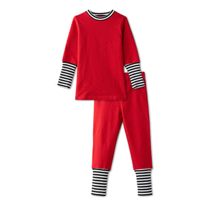 Snug fitting pjs with ribbed accent in red