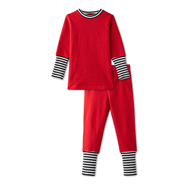 Snug fitting pjs with ribbed accent in red 1