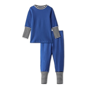 Snug fitting pjs with ribbed accent in blue