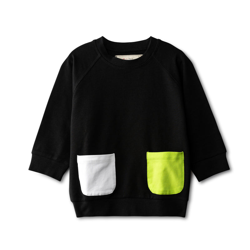 Black top with pocket accent - neon green