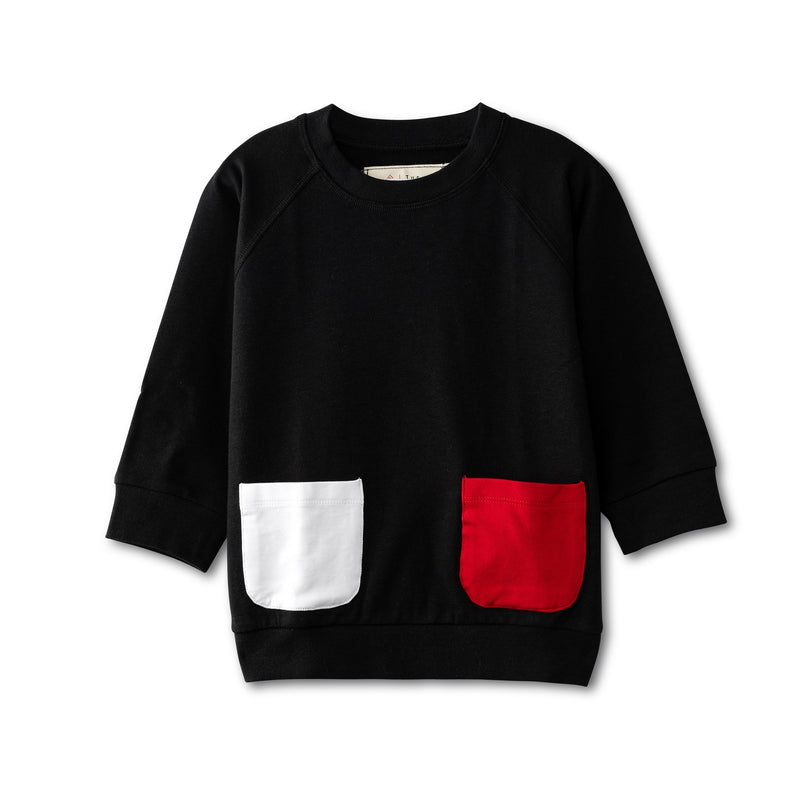 Black top with pocket accent - red