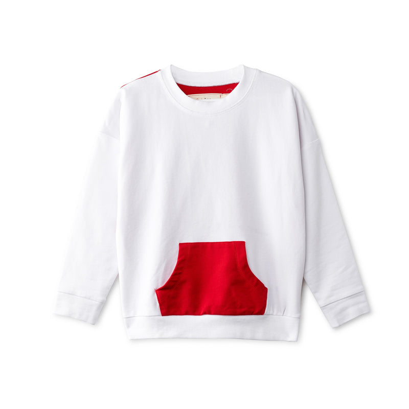 Oversized top in white and red