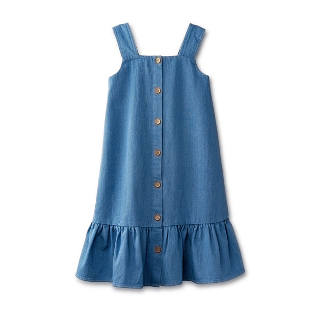 High-low sleeveless dress in chambray 1