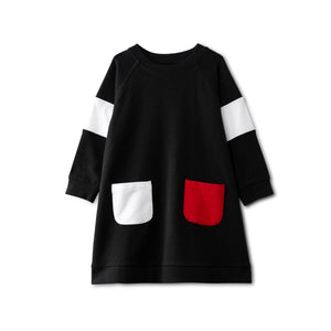 Black dress with pocket accent - red