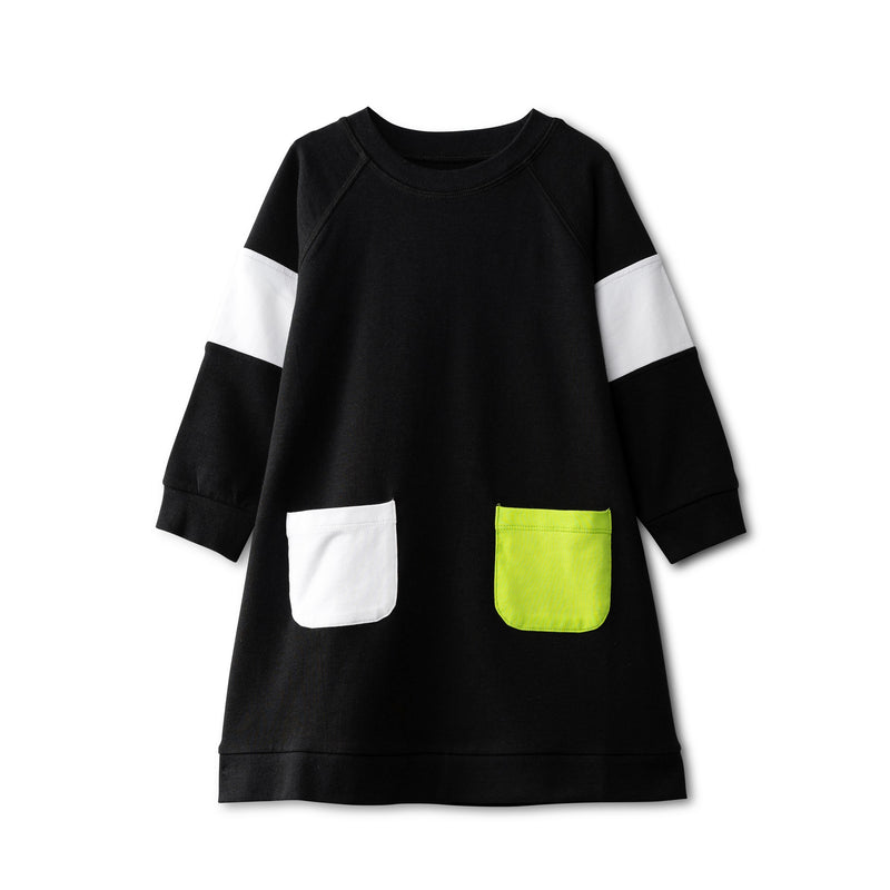 Black dress with pocket accent - neon green