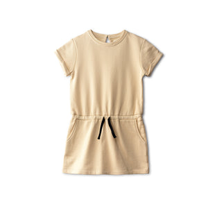 Easy care sweat dress in sand