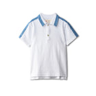 White boy's polo shirt with chambray accent