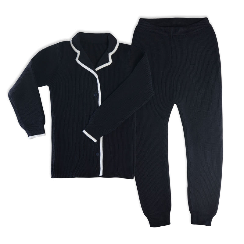 Knit Ribbed Grandfather Pajamas in Black