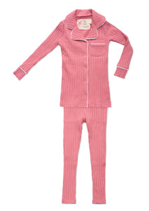 Ribbed Pink Grandfather Pajamas