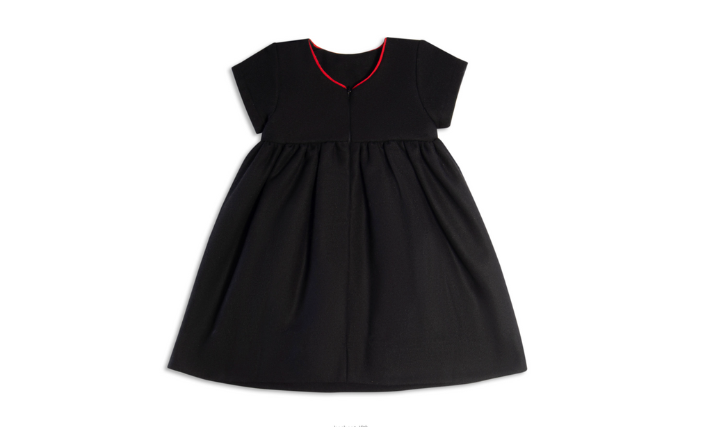 Black Wool Dress with red accent
