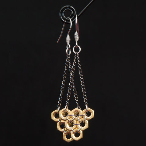 Suspended Hive Hex Earrings