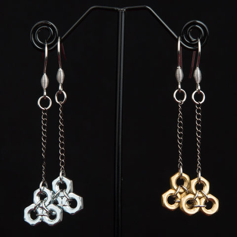 Suspended Honeycomb Hex Earrings