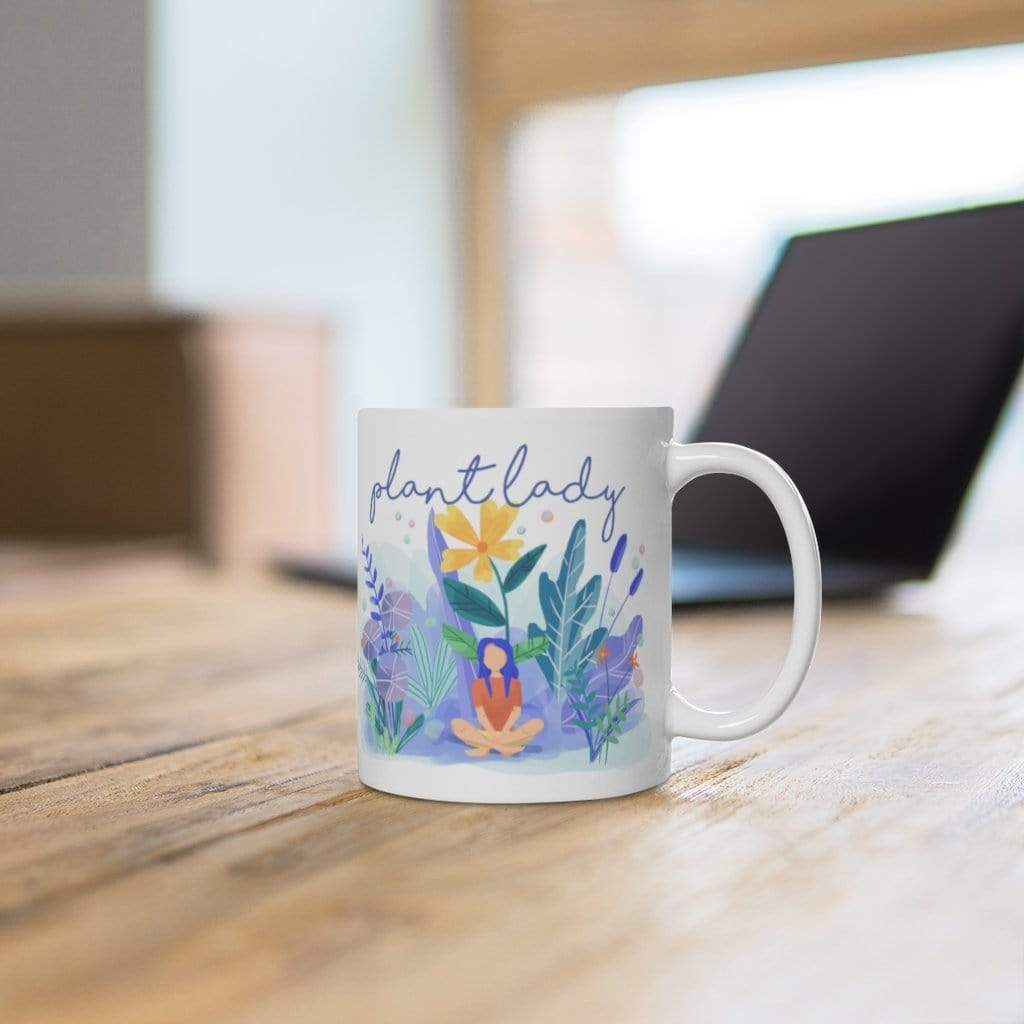 Mug Plant Lady - Flat Design Artwork - Mug Plantspree