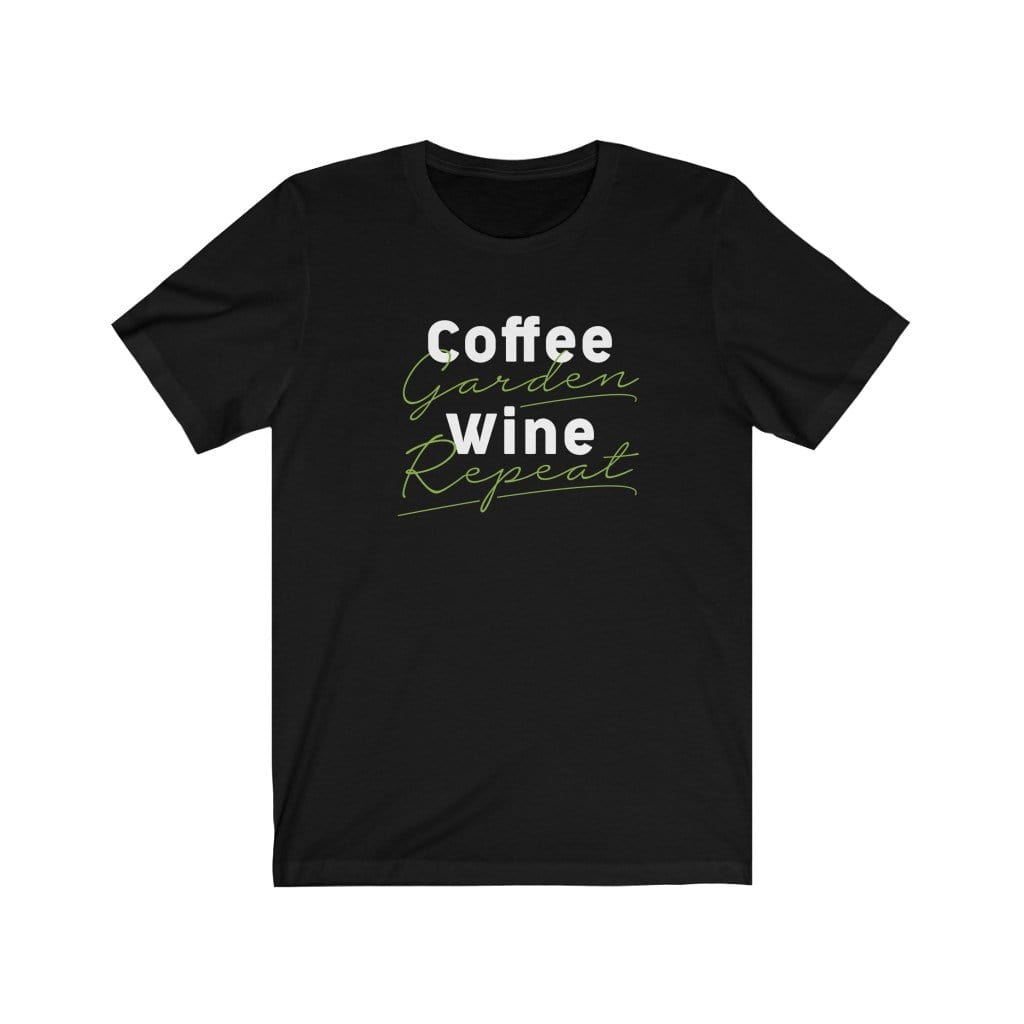 T-Shirt Black / XS Coffee Garden Wine Repeat - GDF0023W00 Plantspree