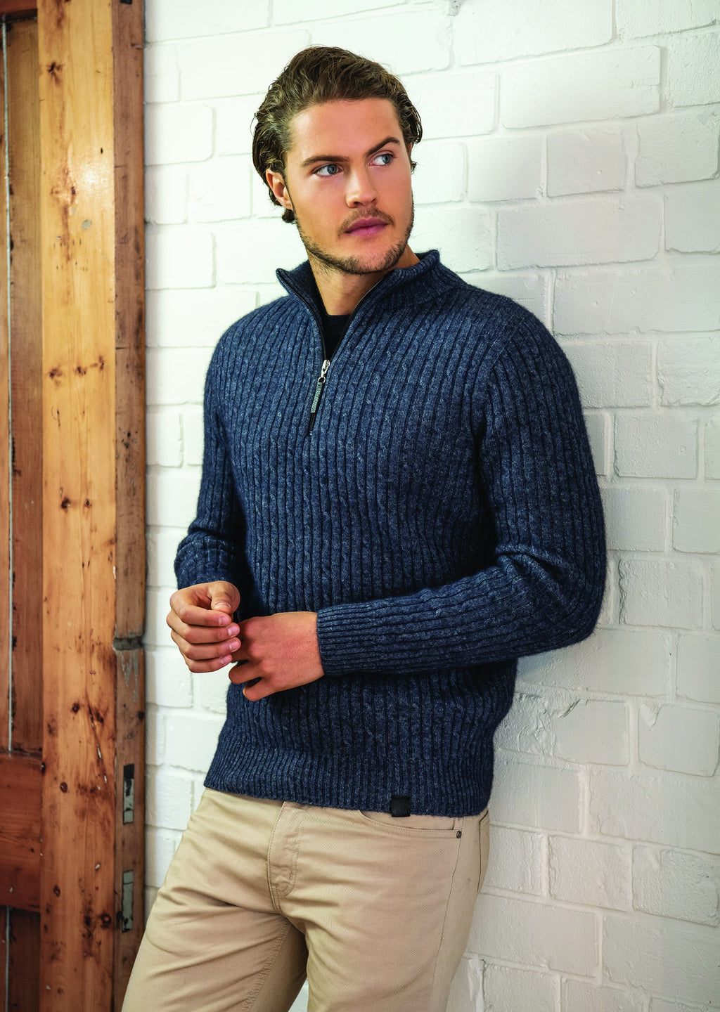 CABLE HALF ZIP SWEATER - Woolshed Gallery
