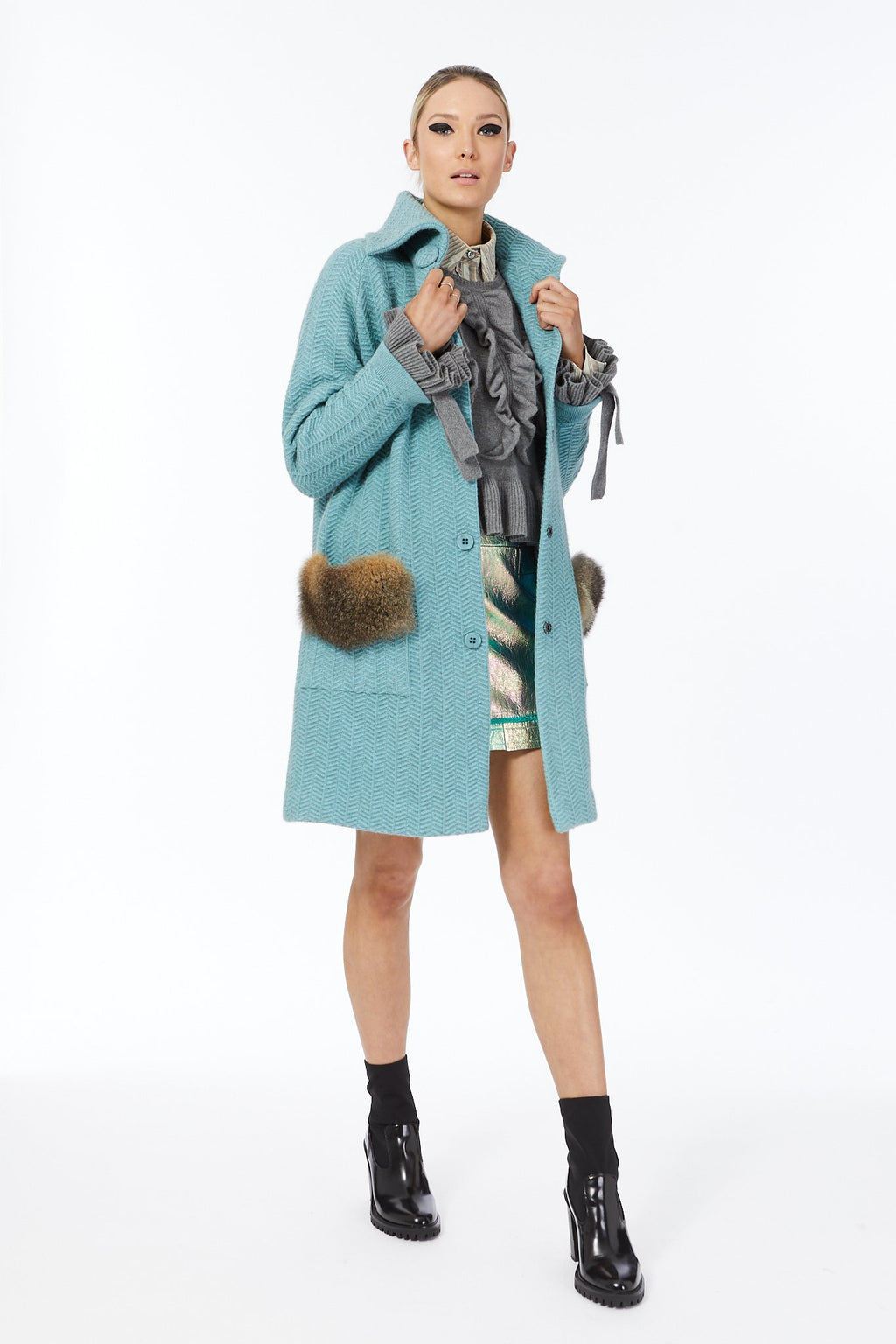 AUDREY COAT WITH FUR TRIM POCKETS - Woolshed Gallery