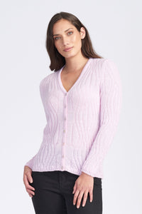 WAVY PATTERN V NECK CARDIGAN - Woolshed Gallery