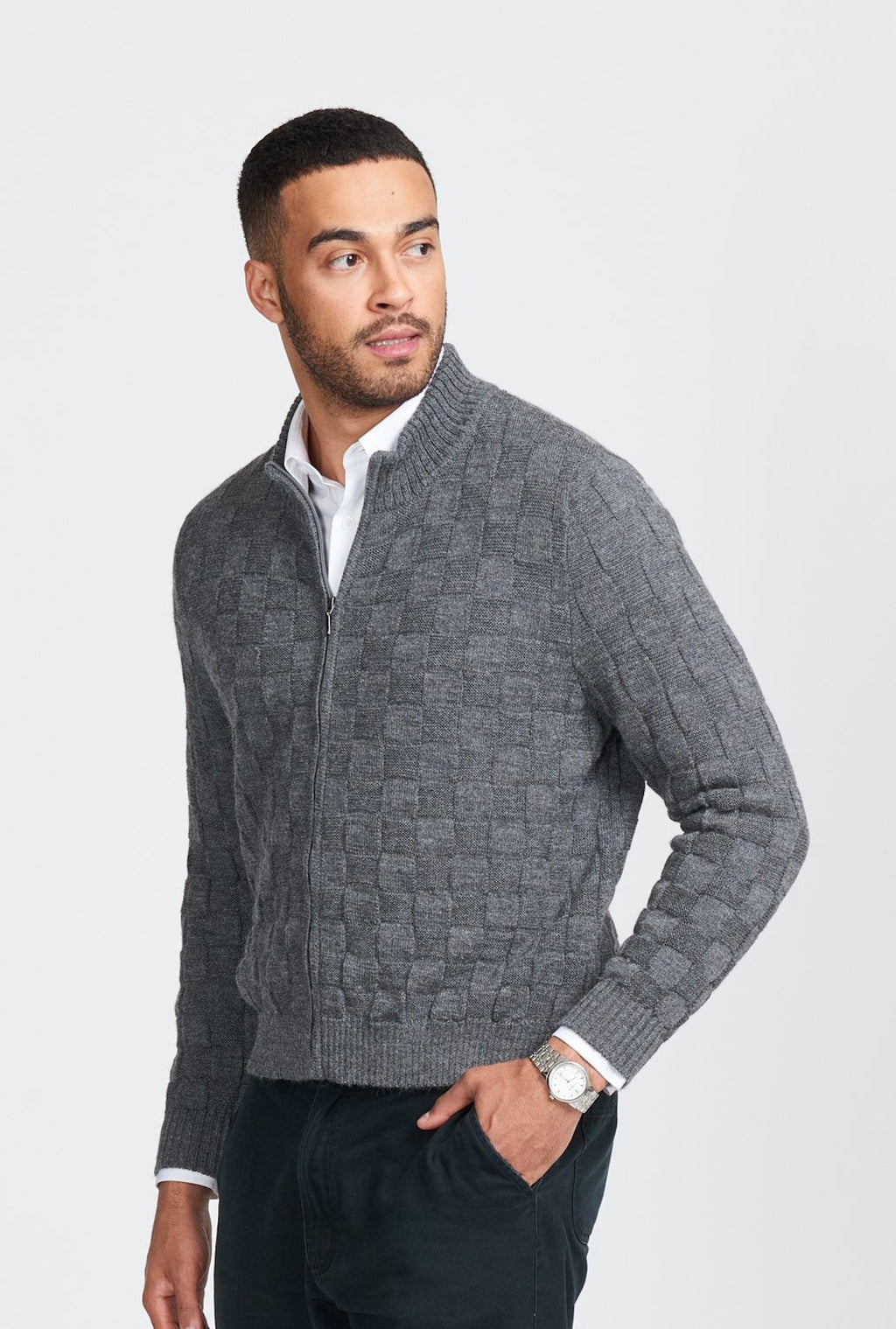 MENS CHECKERBOARD ZIP JACKET - Woolshed Gallery