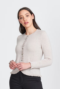 L/S FRILL TRIM CARDIGAN - Woolshed Gallery