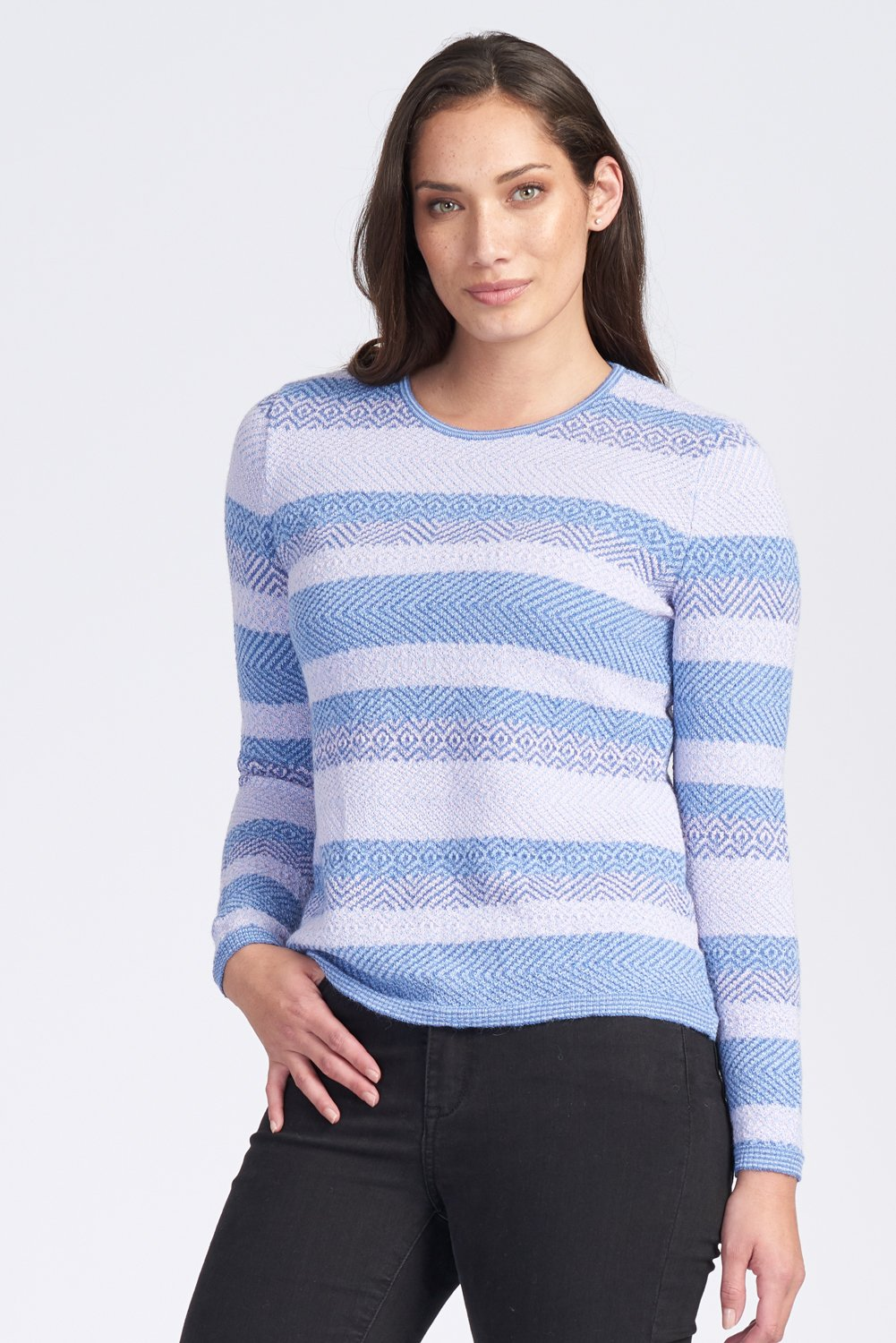 L/S CREW NECK JACQUARD JUMPER - Woolshed Gallery