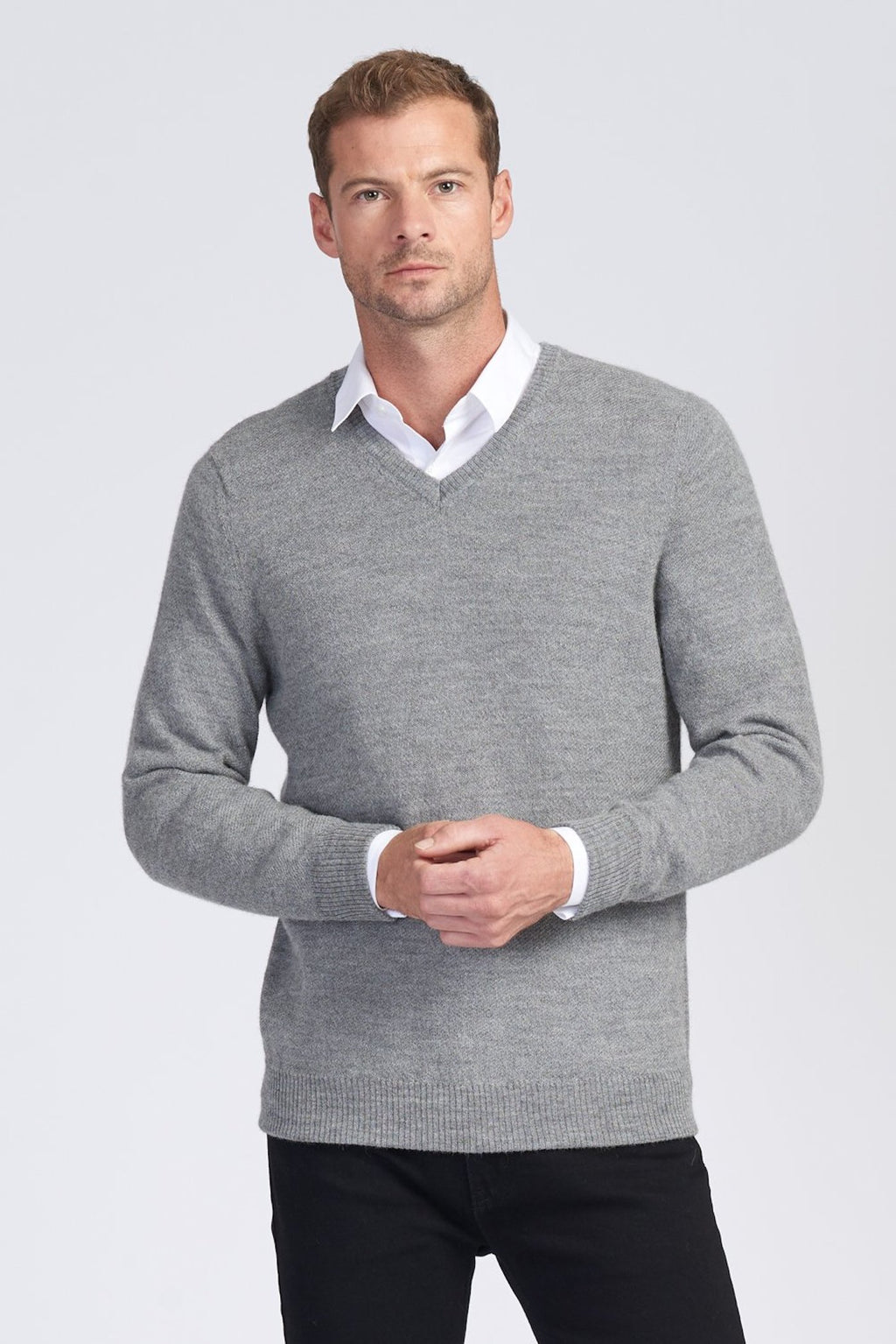 MENS L/S V NECK JUMPER - Woolshed Gallery