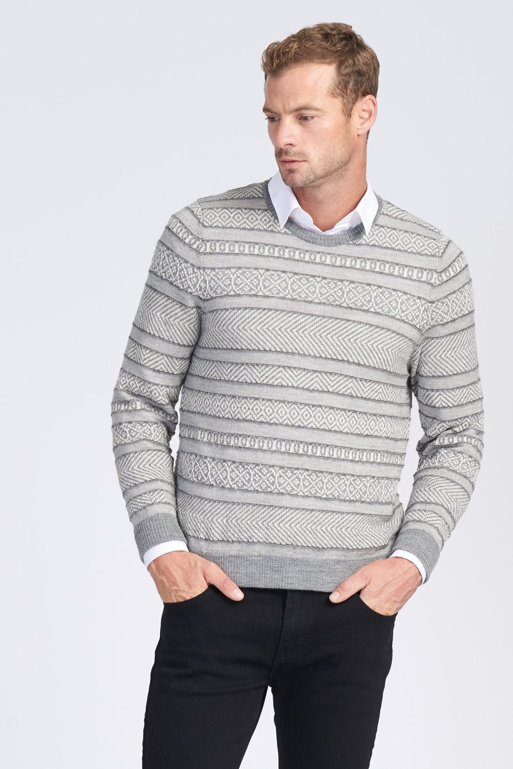 MENS L/S CREW NECK JACQUARD JUMPER - Woolshed Gallery